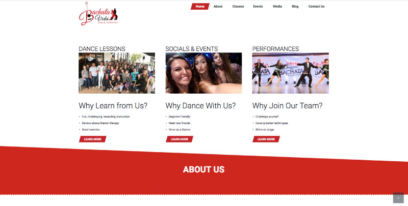 dance studio website design