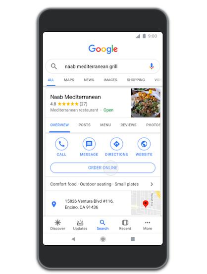 Google restaurant ordering